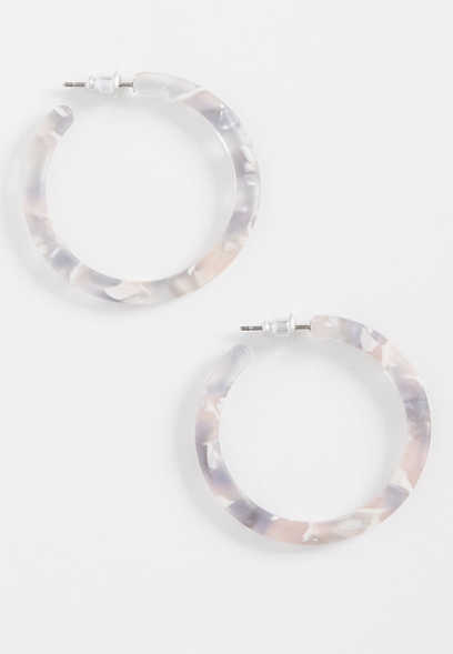 pink and gray resin hoop earring
