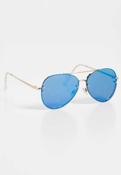 flat blue lens aviator sunglasses