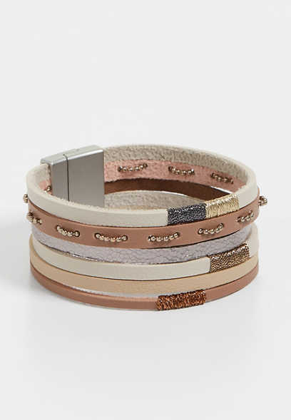 tan multi row magnetic bracelet