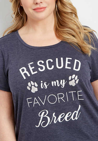 plus size rescued favorite breed graphic tee