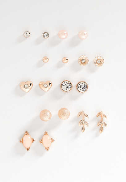 nine piece rose goldtone stud earring set