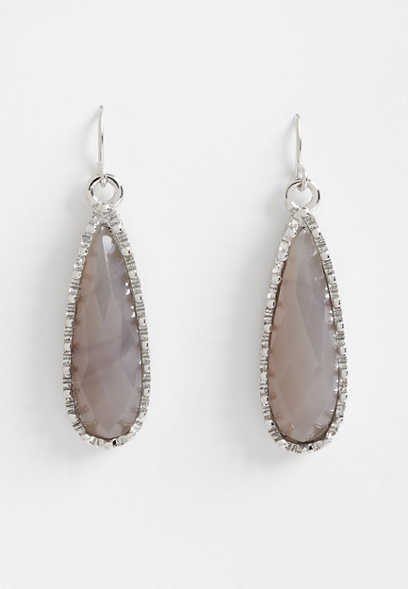 gray teardrop earrings