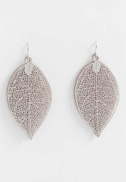 double layer leaf glitter earring