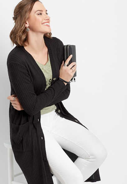black soft brushed ribbed duster cardigan
