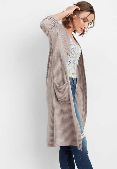 soft brushed ribbed duster cardigan