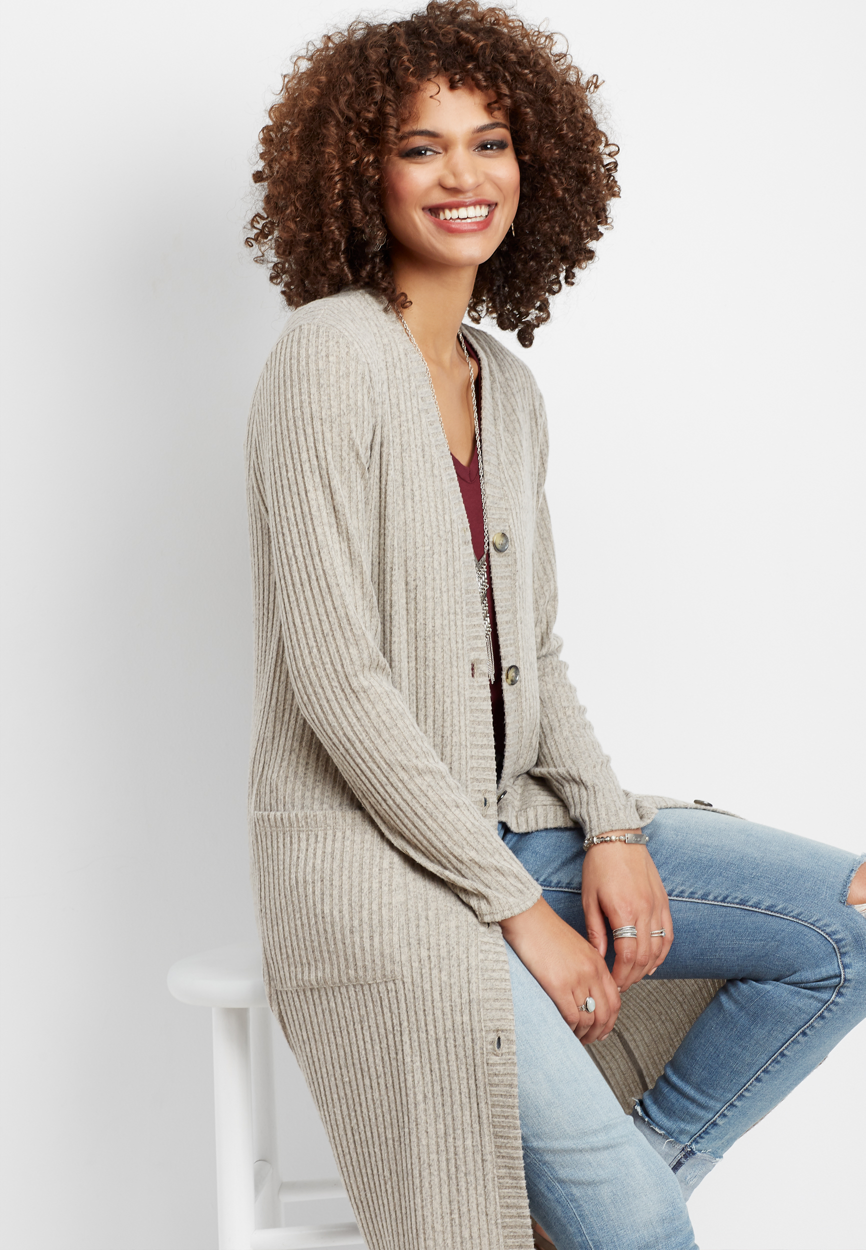 Ribbed Button Down Duster Cardigan by Maurices