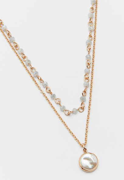 two row faux pearl necklace