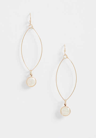 faux pearl wire drop earring