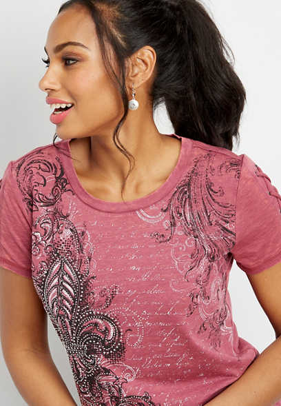 lace up sleeve rhinestone graphic tee