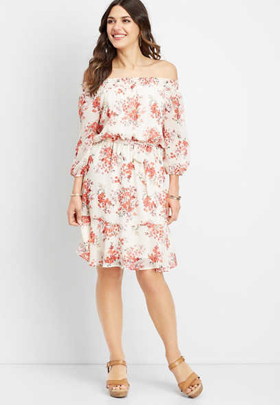 e8d063e6304a off the shoulder floral oversized dress