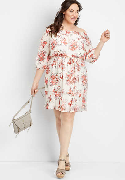 plus size off the shoulder floral oversized dress