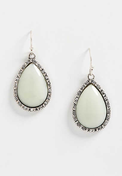 green stone teardrop earring