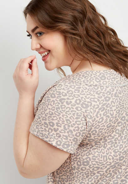 plus size animal print marilyn neck pullover