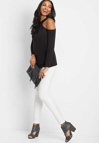 solid wrap cold shoulder top