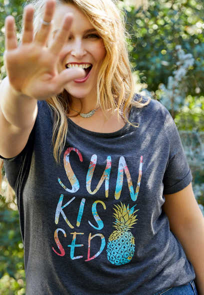 plus size sun kissed graphic tee