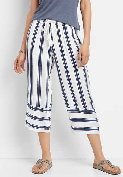 stripe pull on cropped pant