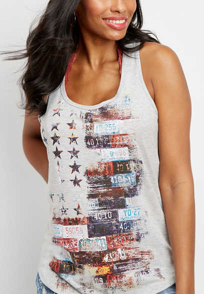 license plate flag graphic tank