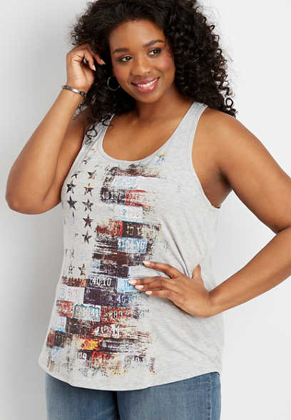 plus size license plate flag graphic tank