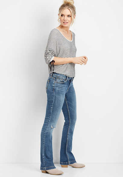 Silver Jeans Co.® Elyse destructed knee slim boot jean