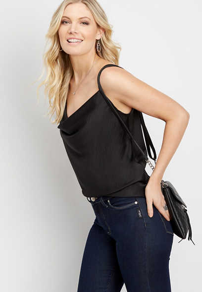 solid drape neck tank