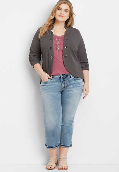 plus size Silver Jeans Co.® Suki light wash capri