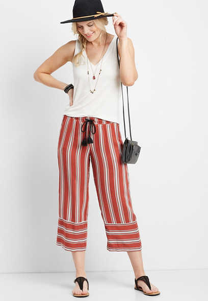 orange stripe pull on cropped pant