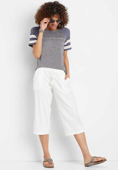 white linen wide leg cropped pant