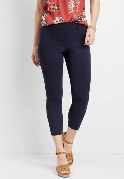 navy pull on bengaline cropped pant