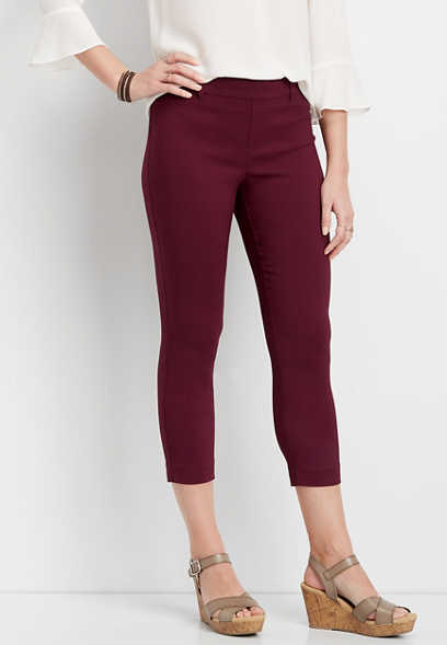 textured wine pull on bengaline cropped pant