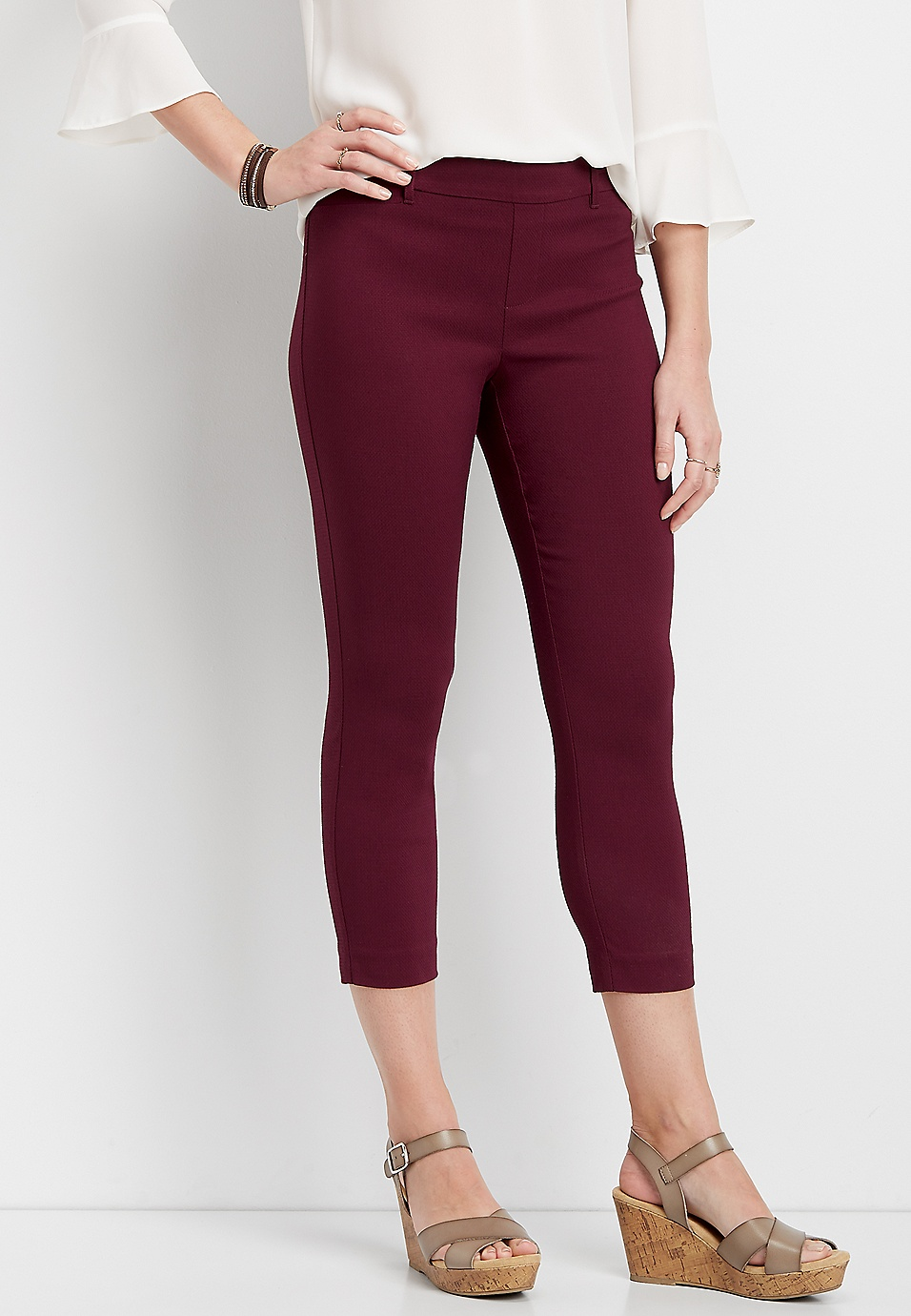 fe2b2d3a60 textured wine pull on bengaline cropped pant