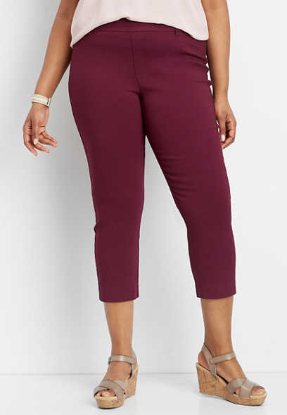 plus size textured wine pull on bengaline cropped pant