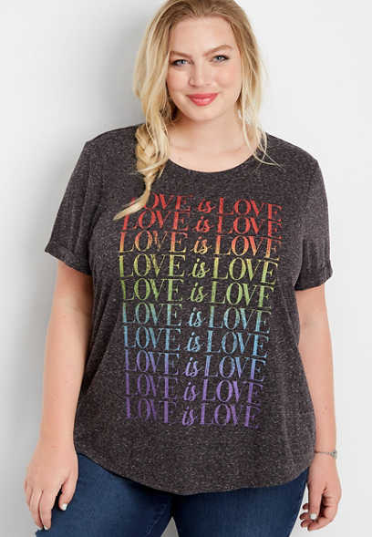 plus size love is love graphic tee