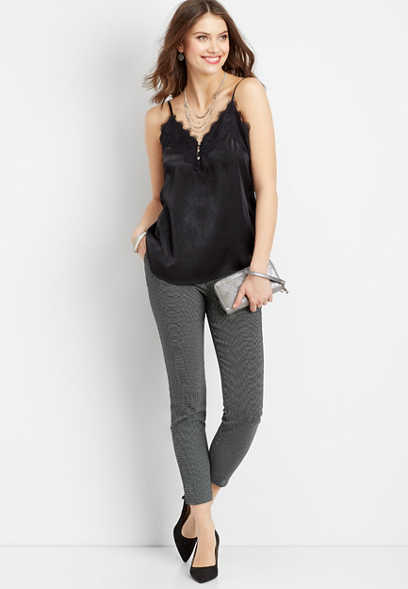 lace button down v-neck satin tank