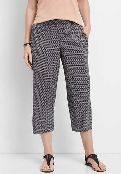 diamond print wide leg cropped pant
