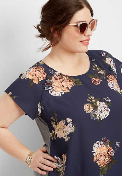 0c24f829f85 plus size floral print mixed media top