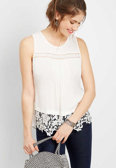 crocheted yoke tank