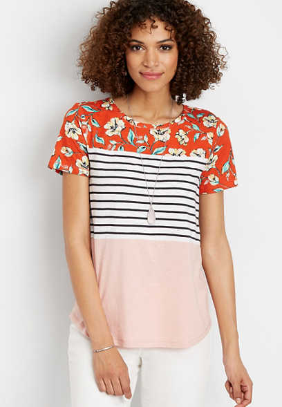 24/7 floral stripe colorblock tee