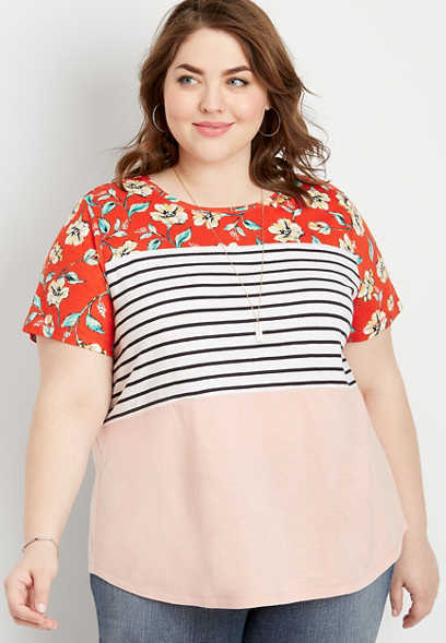 plus size 24/7 floral stripe colorblock tee