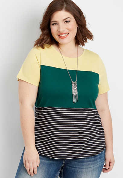 plus size 24/7 stripe crew neck colorblock tee