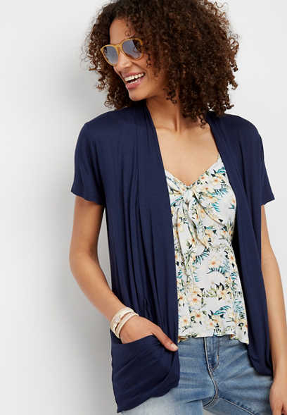 slouchy pocket short sleeve cardigan
