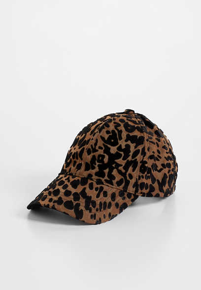 flocked leopard baseball hat