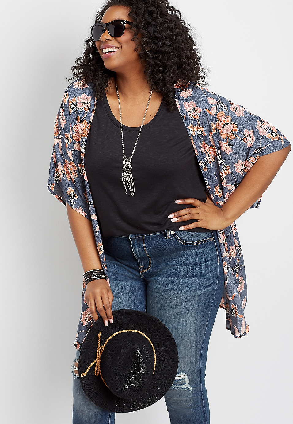 1f8034249 plus size floral open front kimono | maurices