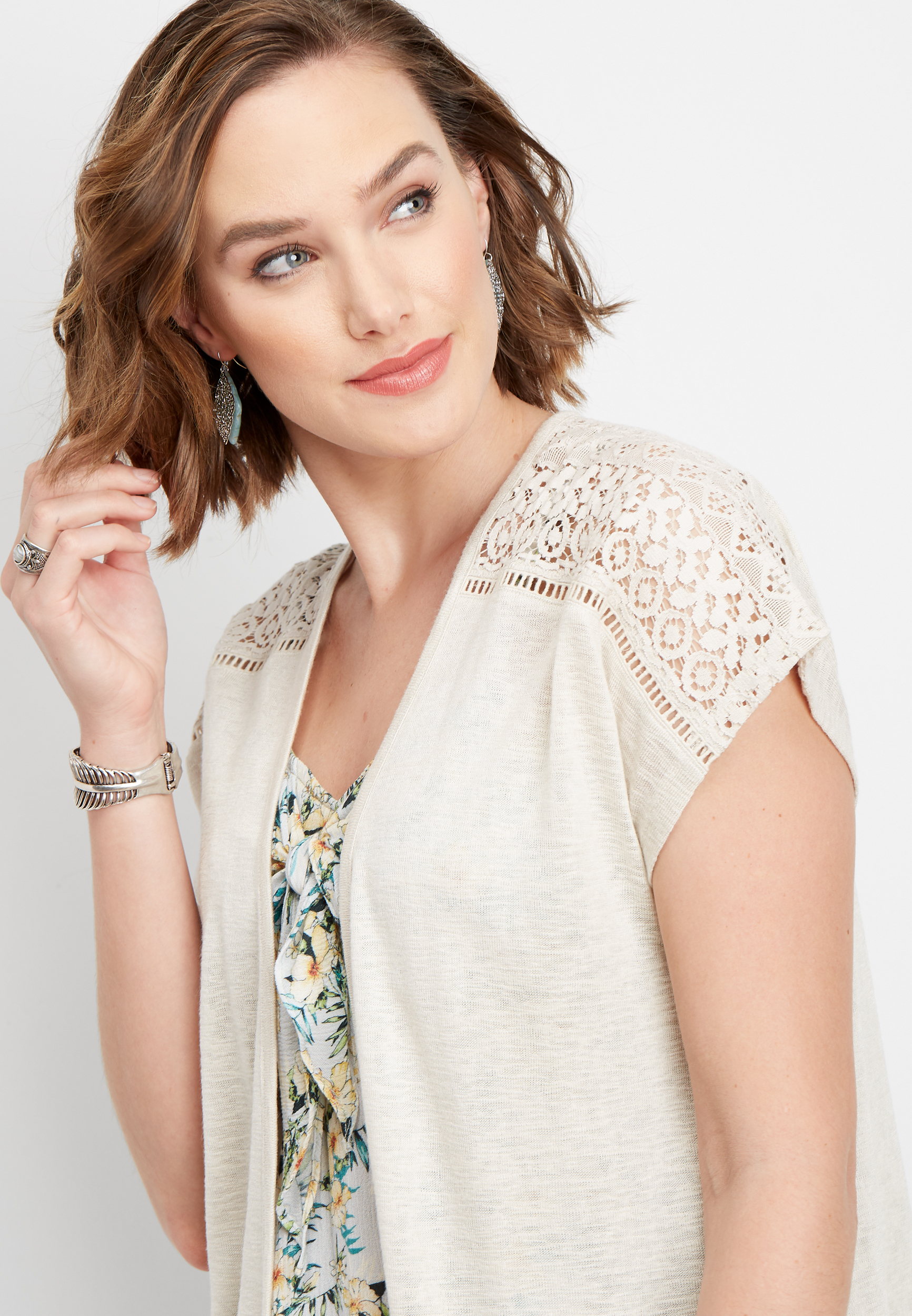 Crocheted Trim Dolman Cardigan by Maurices