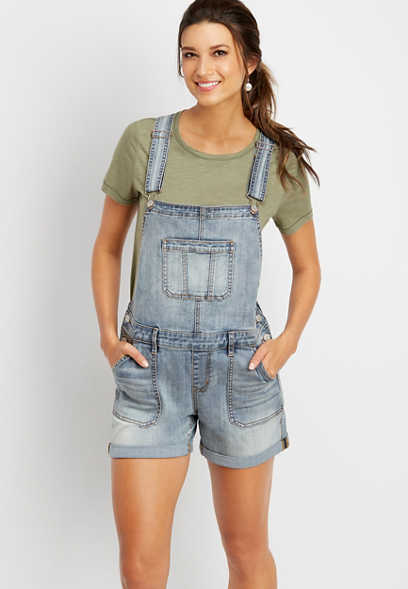 DenimFlex™ medium wash short overall