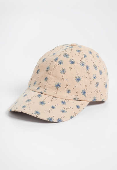 blue ditsy floral baseball hat