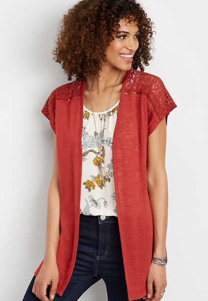red crocheted trim dolman cardigan