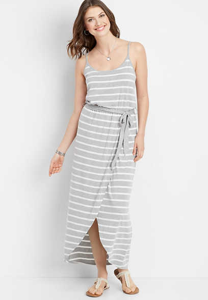 stripe tulip hem maxi dress