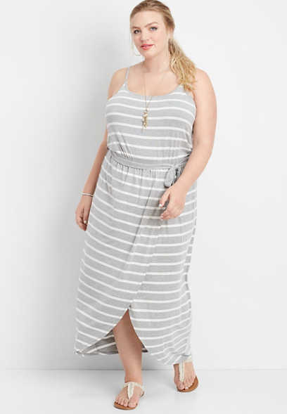 plus size stripe tulip hem maxi dress