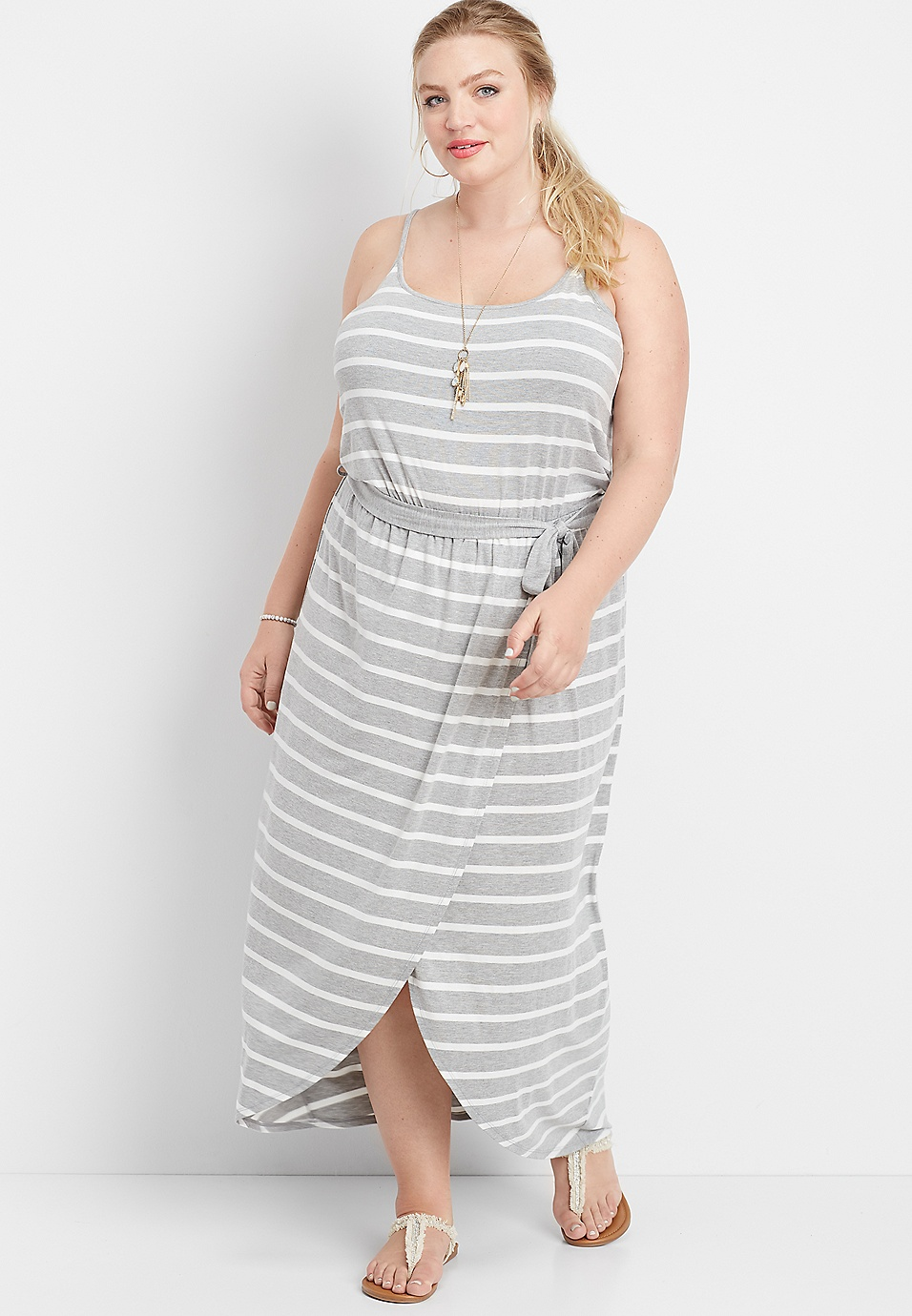 plus size stripe tulip hem maxi dress | maurices