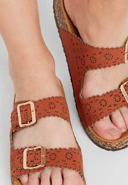 Alyssa laser cut molded footbed sandals